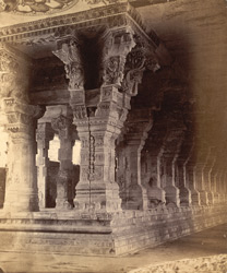 Close view of pillars at end of one of the colonnades in the Ramalingeshvara Temple, Rameswaram